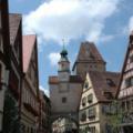 Rothenburg -- Markusturm mit unserem Hotel